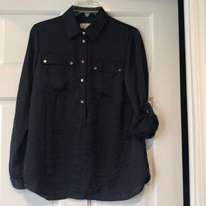 Michael Kors Petite Long Sleeve Blouse, NWOT Navy